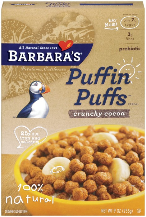 Barbara's Bakery Puffins Puffs Crunchy Cocoa